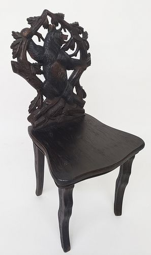 19th Century Carved Black Forest Side Chair