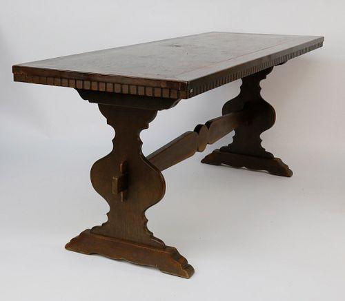 Vintage Mahogany Trestle Dining Table