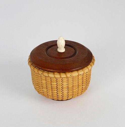 Miniature Round Covered Nantucket Basket