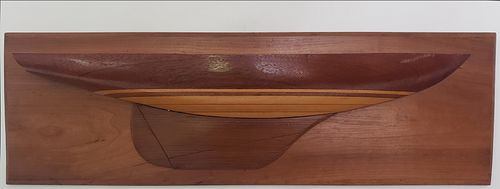 """Vintage Five Lift Ship Builder's Half Hull Model of the Cat Boat """"Sea Bisquet"""""""