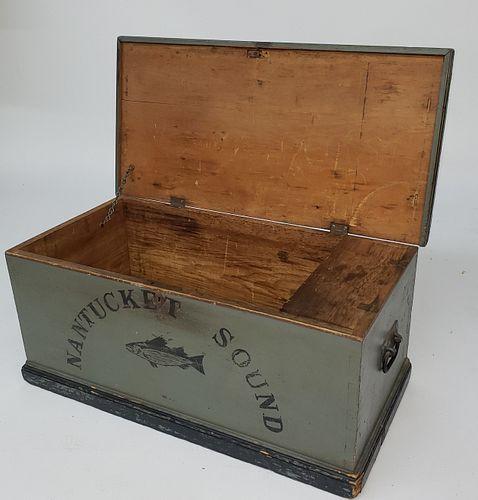 """Nantucket Sound"" Paint Decorated Whaler Captain's Sea Chest, 19th Century"