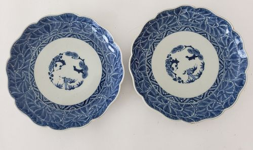 Pair of Antique Chinese Export Blue & White Porcelain Scalloped Edge Plates, 19th Century