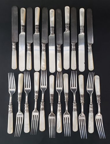 23 Piece American Cutlery Company Mother of Pearl Handled Knife and Fork Set