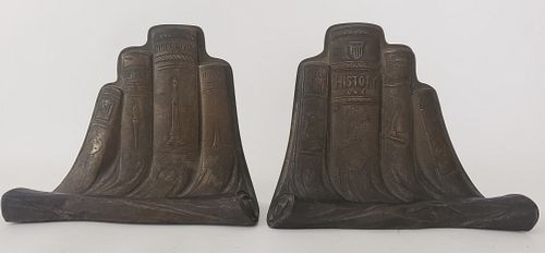 Pair of Art Metal Construction Company Bronze Book Form Bookends