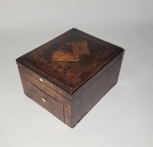 19th Century Burlwood Inlaid Playing Card and Game Storage Box
