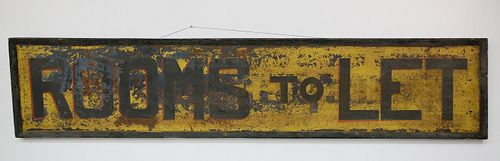 """Antique Hand Painted Tin Sign """"Rooms to Let"""""""