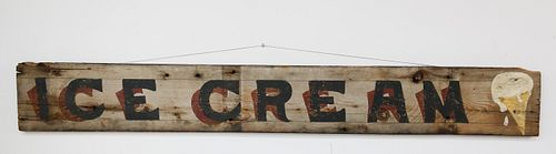 """Hand Painted Wood Sign """"Ice Cream"""""""