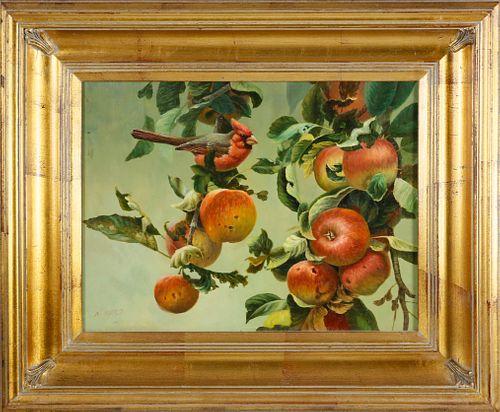 "Nina Ward Oil on Panel ""Cardinal on Fruiting Apple Bough"""