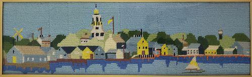 Vintage Nantucket Harbor Framed Needlepoint