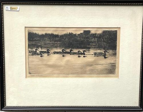 """Etching """"The Procession"""" by Benson"""