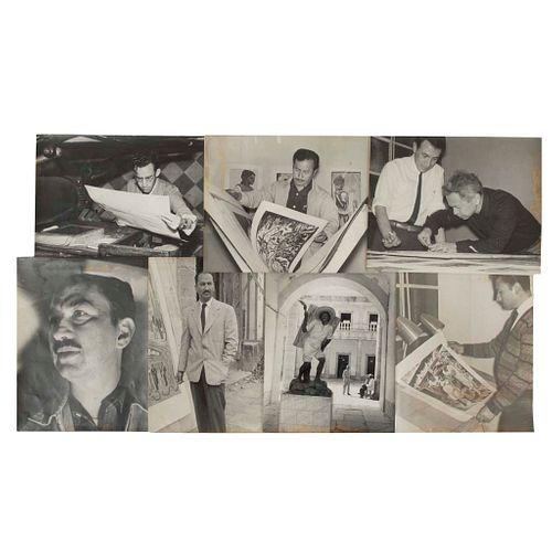 Foto Hermanos Mayo. Artistas del Taller de Gráfica Popular / Isidoro Ocampo en Taller / José Chávez Morado. Pzs: 7