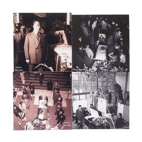Marzano, Mario. Funeral de Diego Rivera México, 1957. Impresión digital, 25.3 x 25.3 cm. Sello de propiedad al reverso. Piezas: 4.
