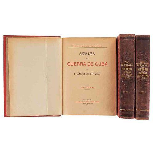 Pirala, Antonio. Anales de la Guerra de Cuba. Madrid, Editor, 1895 - 1898. Tomos I-III. 30 retratos, 13 mapas, 2 planos. Pzs: 3.