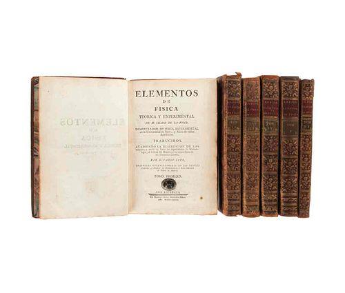 Sigaud de la Fond, Joseph Aignan. Elementos de Física Teórica y Experimental. Madrid,1787-1789. Tomos I-VI. 85 láminas. Piezas: 6.