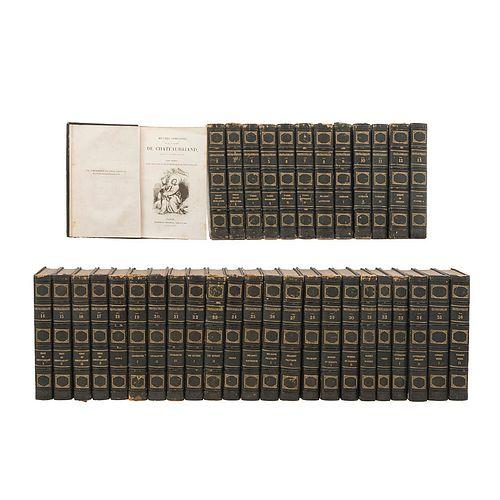 Chateaubriand, François Auguste René de. Œuvres Complètes. Paris: Pourrat Frères Éditeurs, 1836 - 1839. Tomos I-XXXVI. 83 láms. Pzs: 36