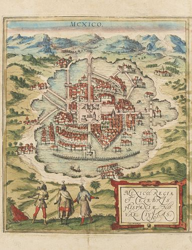 Braun, Georg - Hogenberg, Frans. Mexico Regia et Celebris Hispaniae Novae Civitas / Cusco, Rengi Peru in Novo Orbe... Cologne,1572.