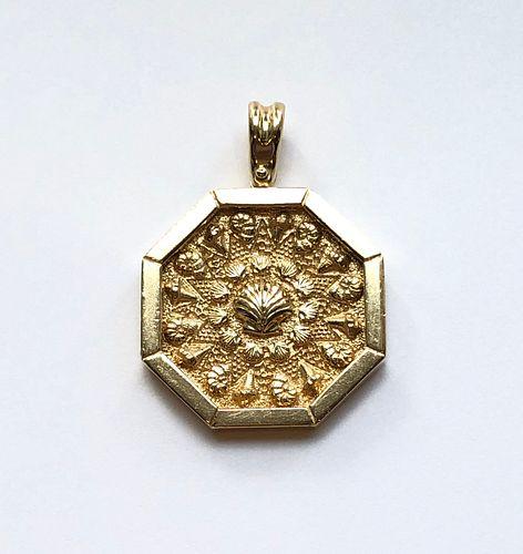"14k Yellow Gold ""Sailor's Valentine"" Pendant Designed by Lillian Waine"