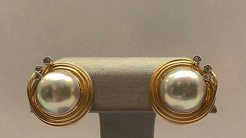 Pair of 18k Yellow Gold and Diamond Mabe Pearl Earrings