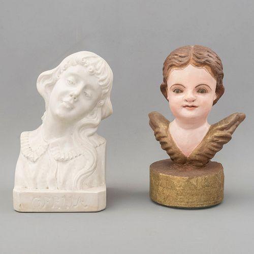 Serafín y Ofelia. SXX. Elaborados en madera y alabastro. Serafín con ojos de vidrio. 21 cm de altura (mayor, Ofelia).