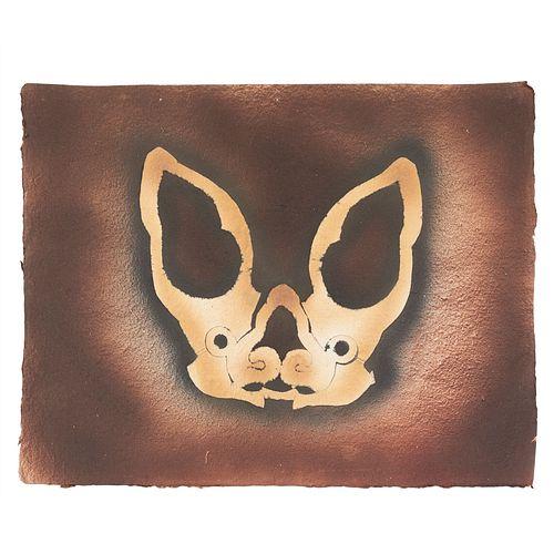 FRANCISCO TOLEDO. Murciélago. Firmado en la parte posterior. Esténcil y troquel sobre papel. 41 x 52 cm.