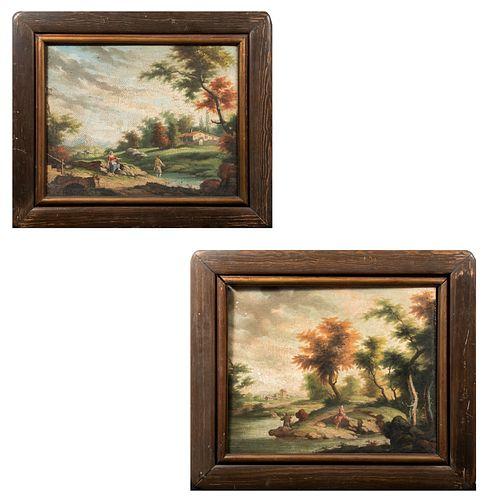 ANÓNIMO. Lote de 2 paisajes. Óleo sobre tela. Enmarcados. 66 x 56 cm