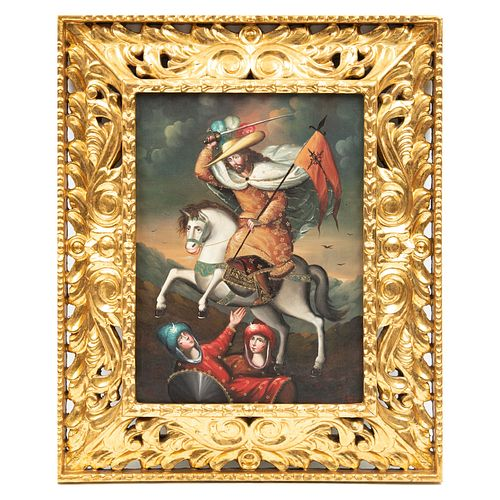ANÓNIMO. Santiago Matamoros. Escuela cuzqueña. Óleo sobre tela. 38 x 28 cm