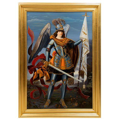 ANÓNIMO. Arcángel. Óleo sobre tela. Enmarcado. 124 x 86 cm