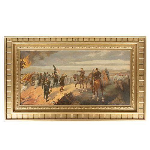 REPRODUCCIÓN DE JOSË CUSACHS. Escena de la Batalla de Puebla. Óleo sobre tela. Enmarcado. 89 x 179 cm