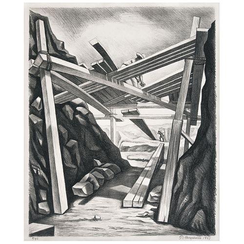 RAÚL ANGUIANO . Andamios. Firmada y fechada 1947. Litografía 4 / 40.