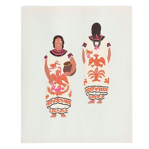 """CARLOS MÉRIDA. """"Mazateca de Oaxaca"""", de la carpeta Mexican Costume. 1941. Firmada en plancha. Serigrafía."""