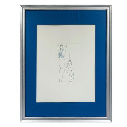 JOSÉ LUIS CUEVAS. Sin título. Firmado. Grabado 12/100. Enmarcado. 28 x 20 cm.