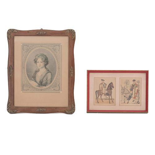 Lote de 2 grabados. Retrato de dama y dos caballeros ecuestres. Enmarcados. 24 x 20 cm.