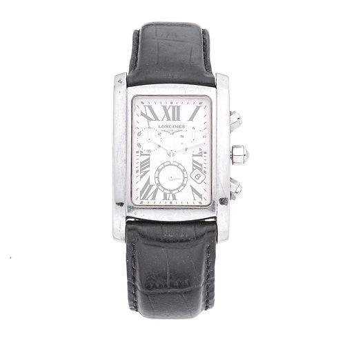 Reloj Longines DolceVita Cronógrafo. Movimiento de cuarzo. Caja cuadrada en acero de 30 x 30. Carátula color blanco con índice...