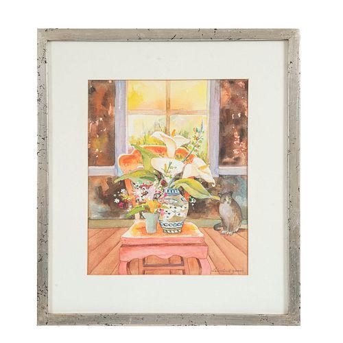 LIBERTAD GÓMEZ.  Bouquet de alcatraces. Acuarela sobre papel algodón. Firmado al frente. Enmarcado. 35 x 28 cm.