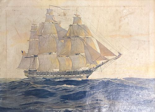 Signed Charles Robert Patterson 1925 Nautical sail boat