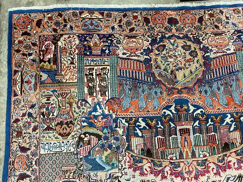 A Large Persian Signed Kashmar Rug