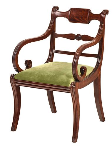 Classical Carved Figured Mahogany Open Armchair