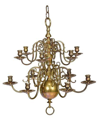 Dutch Brass Twelve Light Chandelier