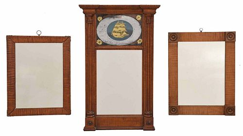 Group of Three American Tiger Maple Mirrors