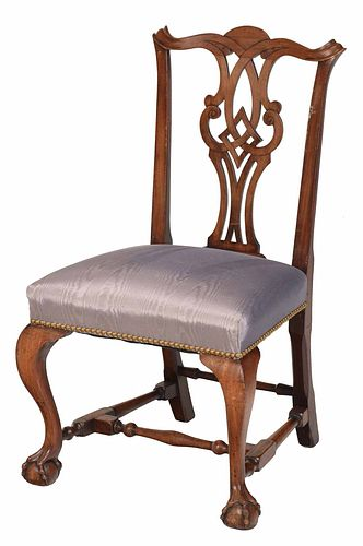 New England Chippendale Carved Mahogany Side Chair