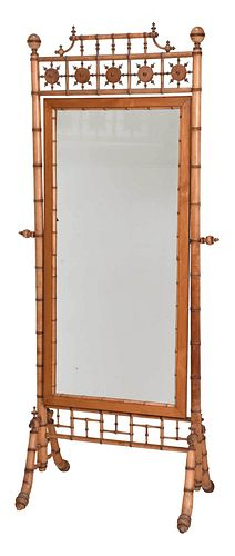 Aesthetic Movement Faux Bamboo Cheval Mirror