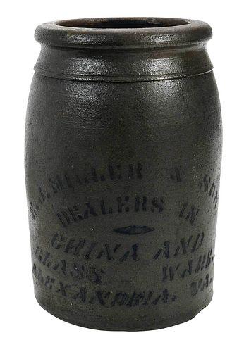 E.J. Miller & Son Stoneware Advertising Jar