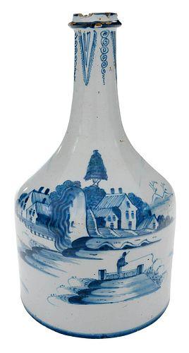 Bristol Delftware Blue and White Bottle