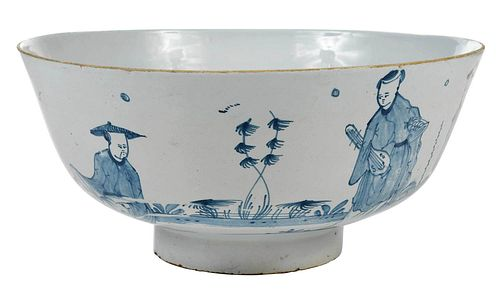 English Delftware Blue and White Punch Bowl