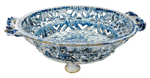 An English Delftware Blue and White Basket