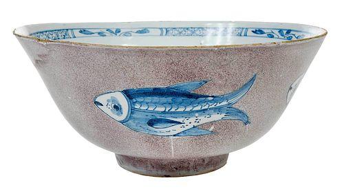 English Delftware Manganese 'Fish' Punch Bowl