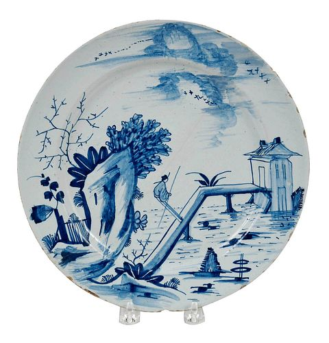 English Delftware Blue and White Plate