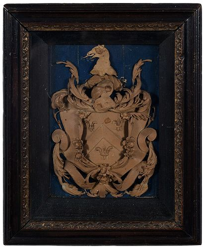 English Shaped and Cut Paper Coat of Arms