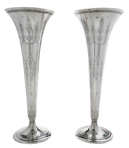 Pair of Tiffany Sterling Trumpet Vases