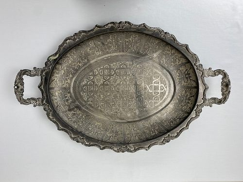 A silver plated serving Tray Middle eastern SADF